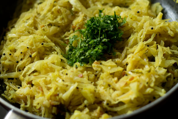 coriander for cabbage poriyal recipe